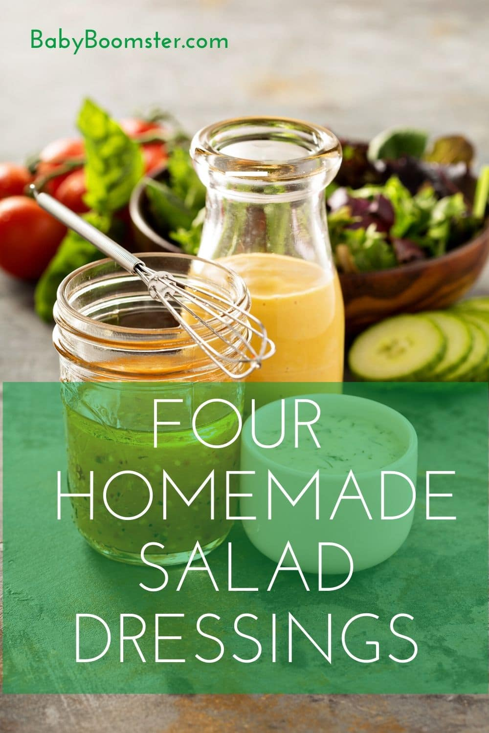Four homemade salad dressings