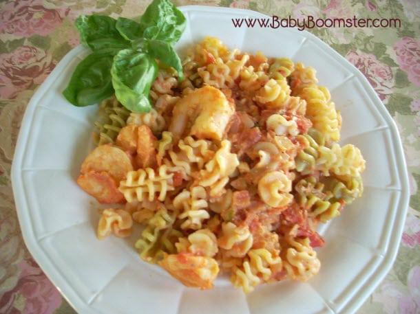 Baby Boomer Recipes | Shrimp Feta and Rotelli Pasta with Homemade Vodka Sauce
