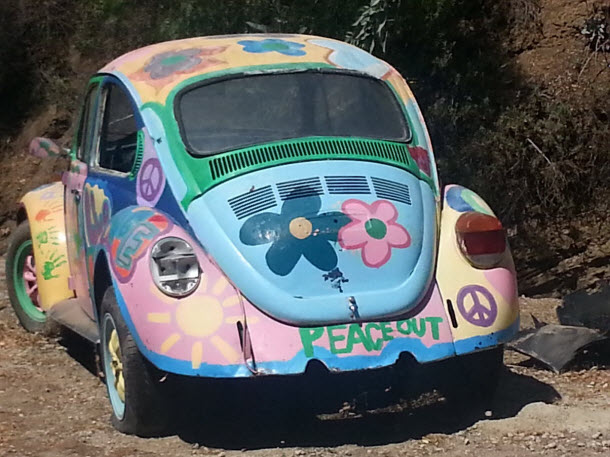Backside of VW Bug - A Classic 60's VW found in Black Canyon just West of Chatsworth in Los Angeles #groovy #VWbug #Classicbeetle #Volkswagon