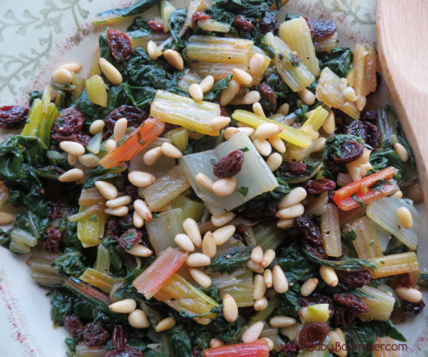 Baby Boomer Recipes | Vegetarian | Rainbow Swiss Chard with Raisins and Pignolis