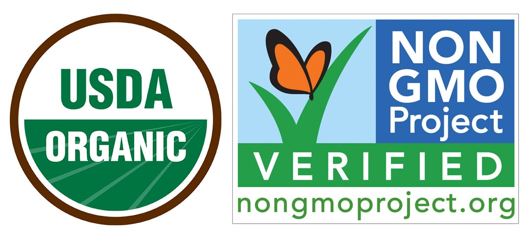 The official seals for US products for organic foods and non gmo foods