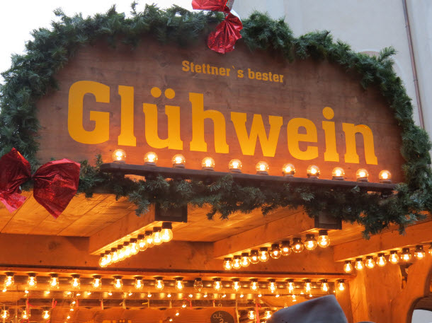 Gluhwein is a warm mulled wine served at Christmas Markets throughout Europe - this stall was in Regensburg Germany
