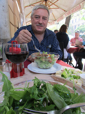 Have a salad for lunch at a restaurant near the Vatican in Rome, Italy