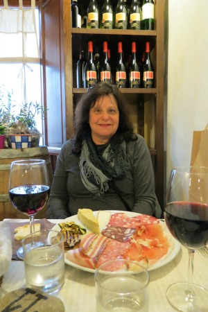 Eating appetizers at Montecarlo De Lucca in Italy