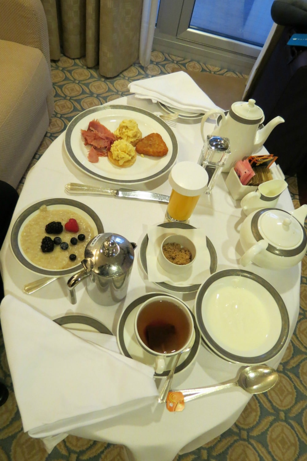 Baby Boomer Travel | Cruising | Breakfast in our suite - Cunard Queen Elizabeth