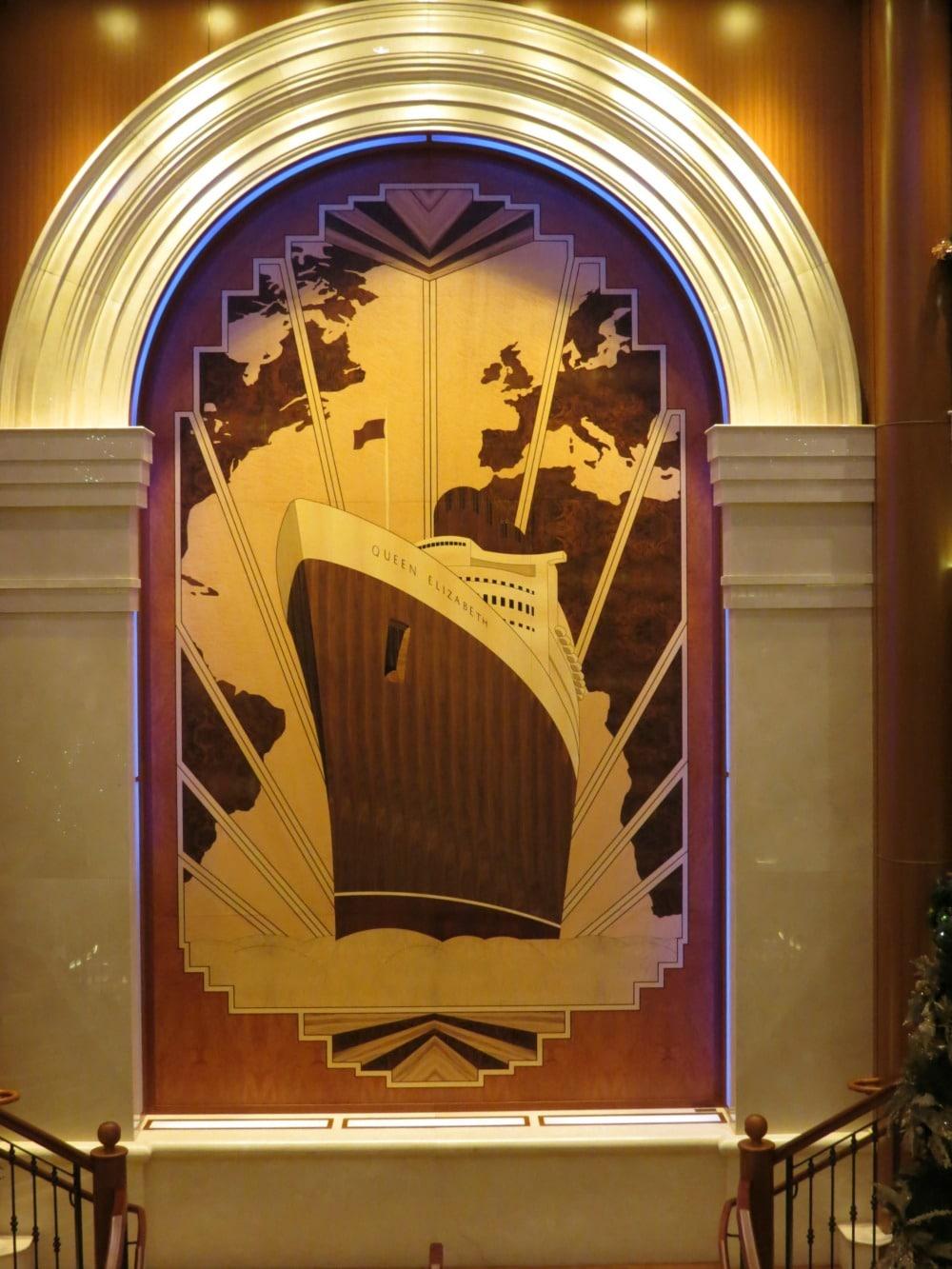 Baby Boomer Travel   Cruising   Cunard Queen Elizabeth - Deco inlaid wood art