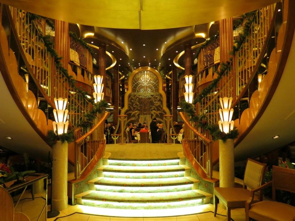 Baby Boomer Travel   Cruising   Cunard Queen Elizabeth - deco stairs
