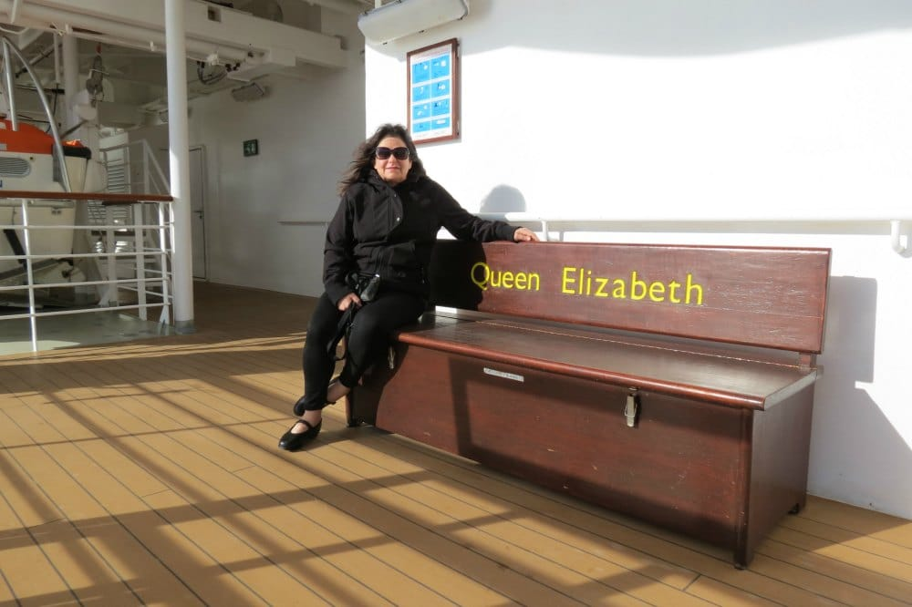 Rebecca Forstadt Olkowski - Founder of BabyBoomster.com on the deck of the Queen Elizabeth #Cunard #cruiseship #oceanliner