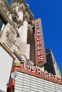 The Los Angeles Theatre opened in 1931 and was designed by S. Charles Lee. It's a gorgeous and opulent venue with crystal chandeliers, marble, gold leaf and a grand staircase. #oldtheater #oldmovietheater #losangeles #LAtheaterdistrict