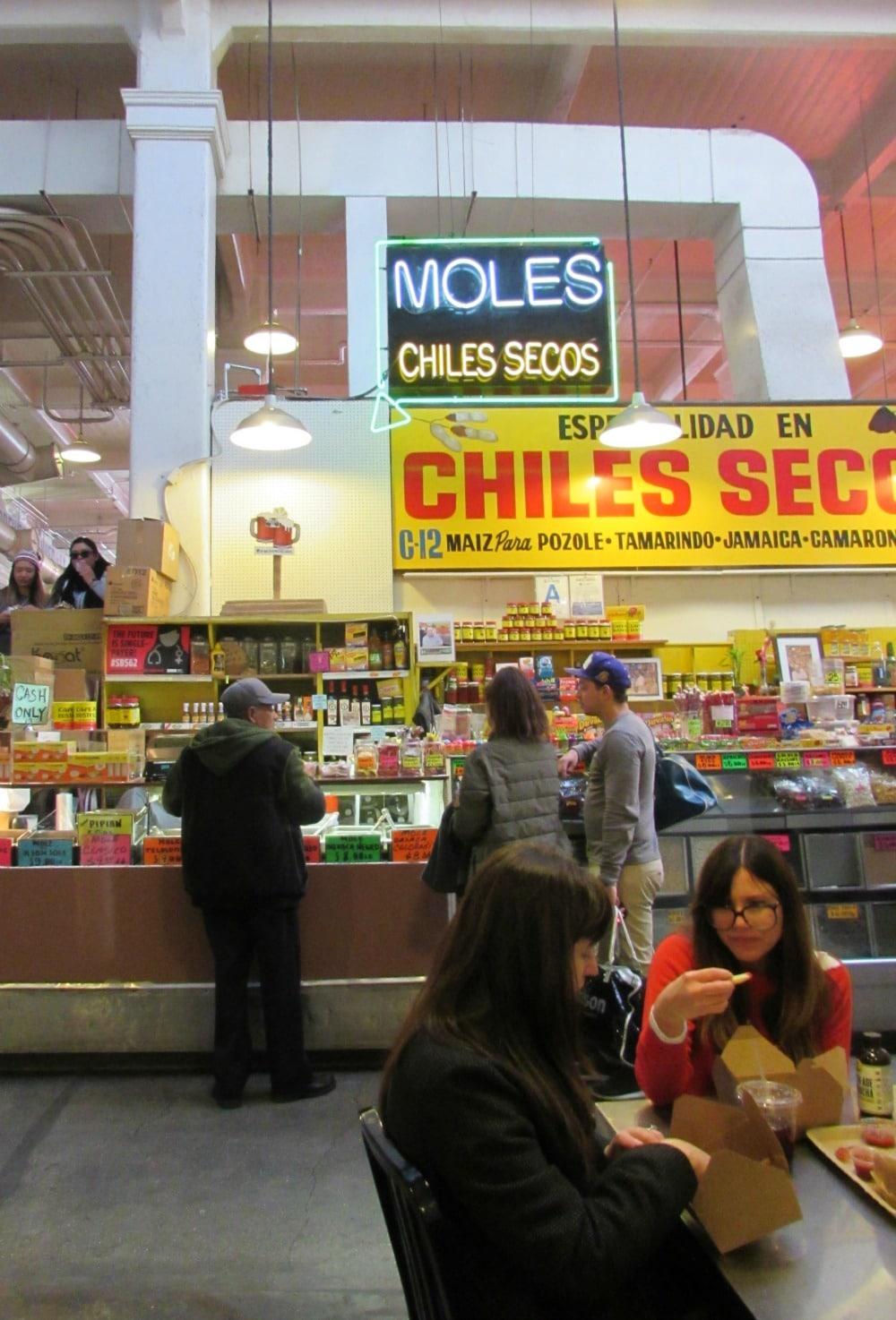 Boomer Travel | Los Angeles | Grand Central Market - Moles Chiles