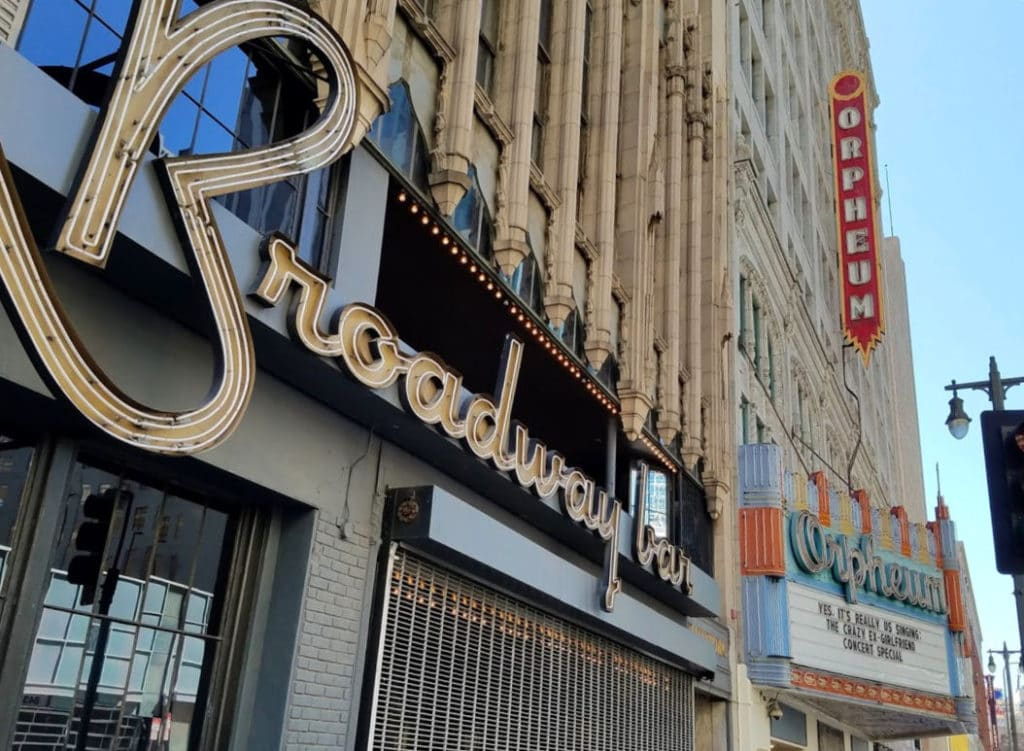 The Broadway Bar next to the Orpheum Theatre in the Los Angeles Theater district on Broadway