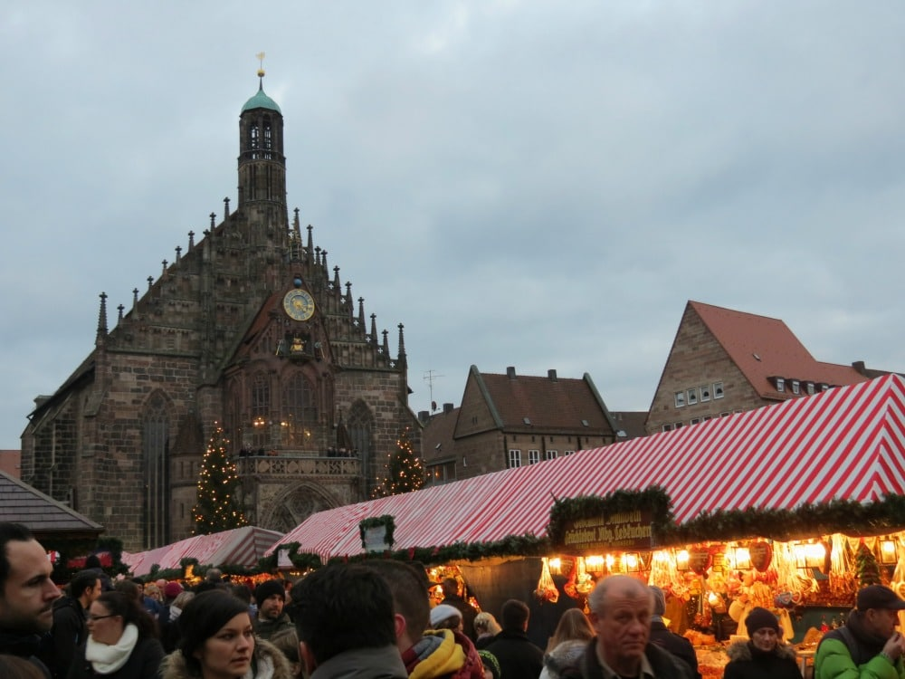 View of the Christmas Market and Cathedral in Nürnberg