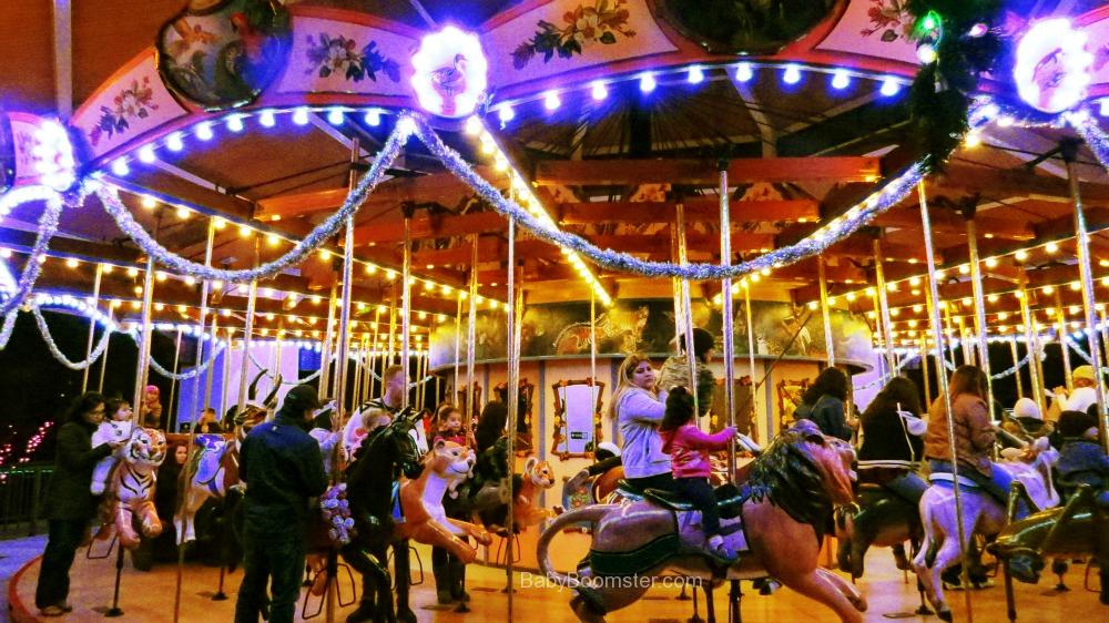 Carousel at the LA Zoo lit up with lights for the holidays