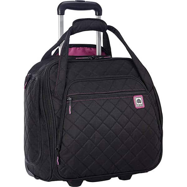 This Delsey underseat rolling bag fits perfectly under your seat and will slide on top of your carryon.