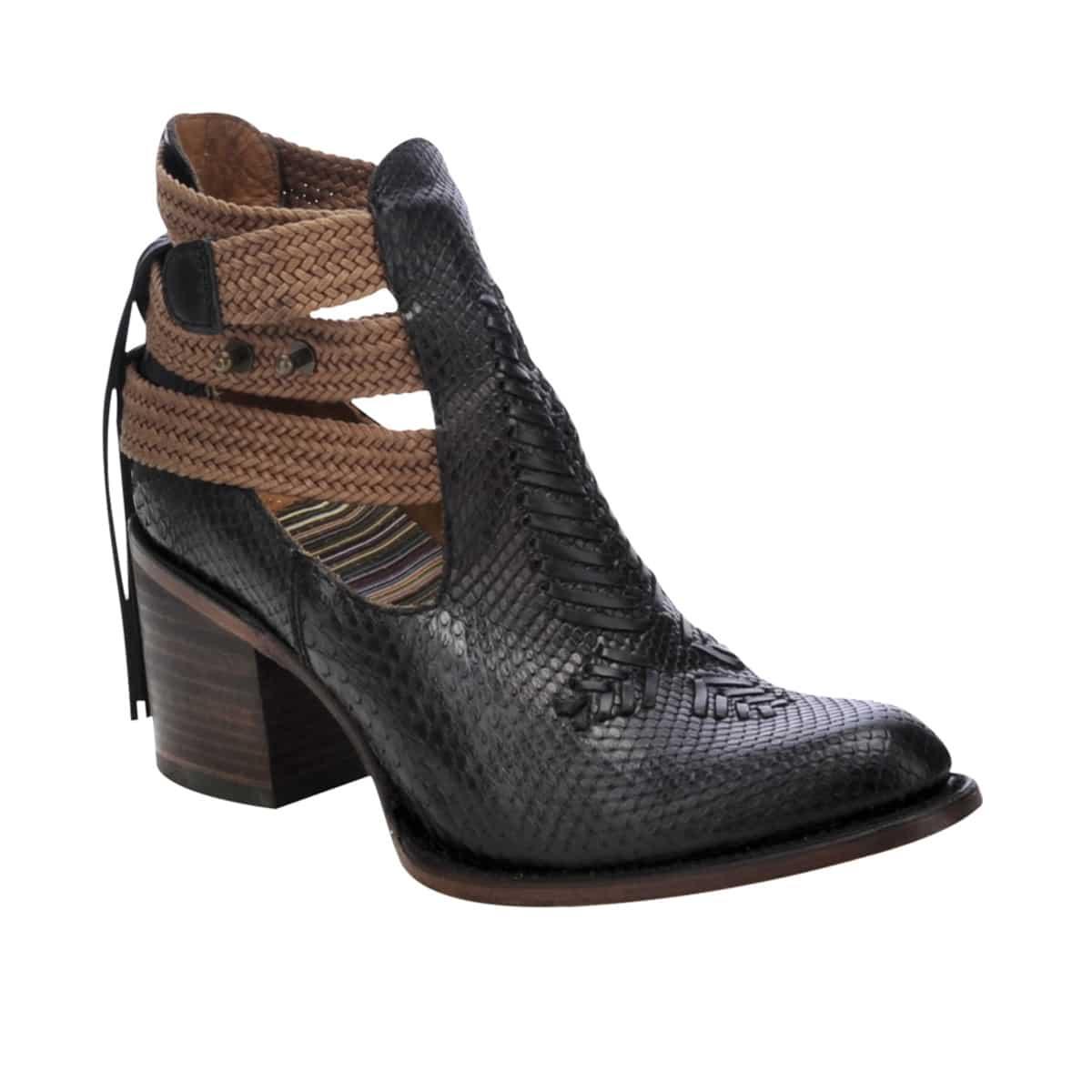 Fashion over 50   Summer Boots   Black Python Braided Shortie