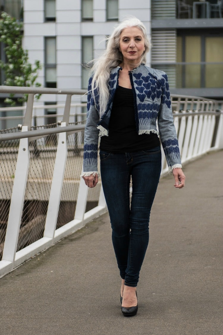 Baby Boomer Women | Fashion Over 50 | Jacynth Basset - Denim Coat