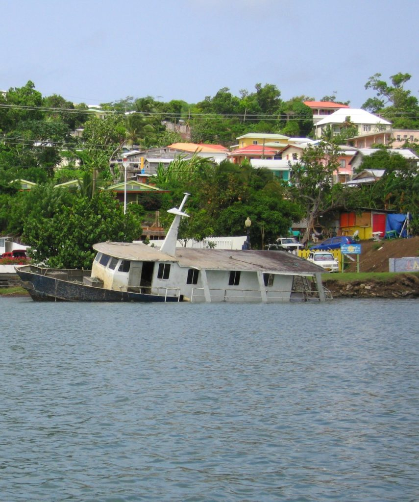 Baby Boomer Travel | Caribbean | St. George, Grenada - half sunk boat