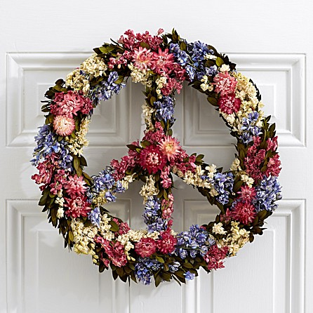Every #babyboomers needs a floral peace sign wreath for the #holidays or anytime of year #peacesign