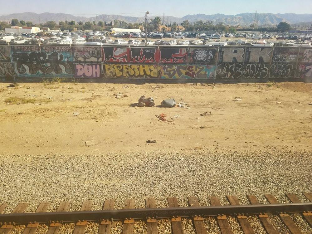 Baby Boomer Travel | Street Art | View from LA Amtrak train