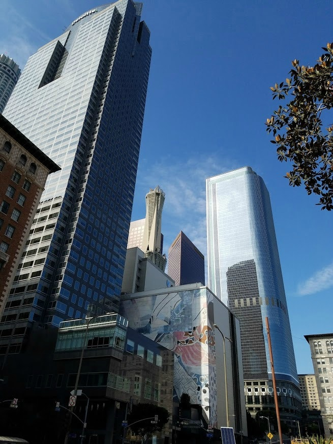 Baby Boomer Travel | Street Art | Pershing Square - Skyscrapers and buildings with art