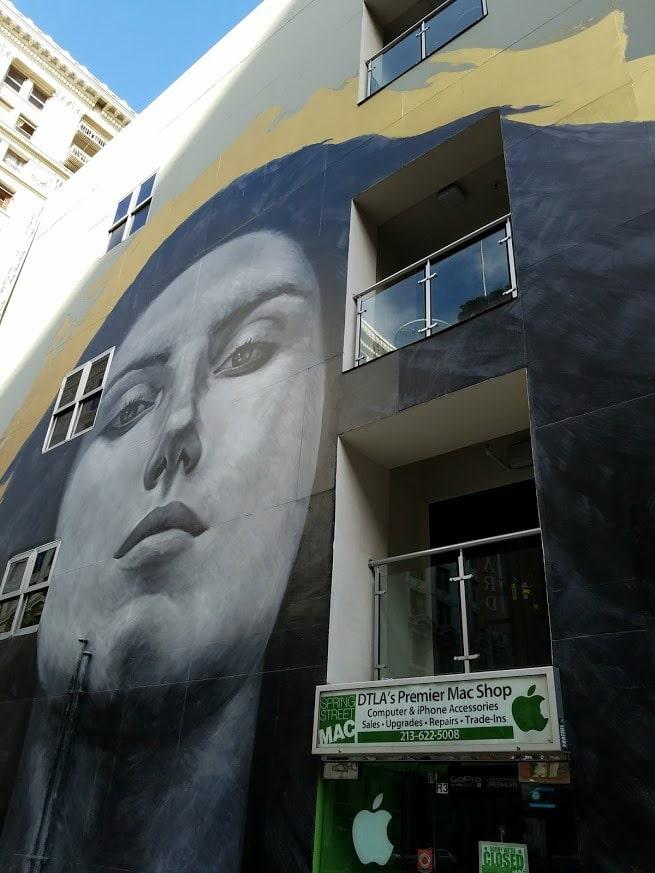 Baby Boomer Travel | Street Art | Spring Street Face Mural near Mac Shop