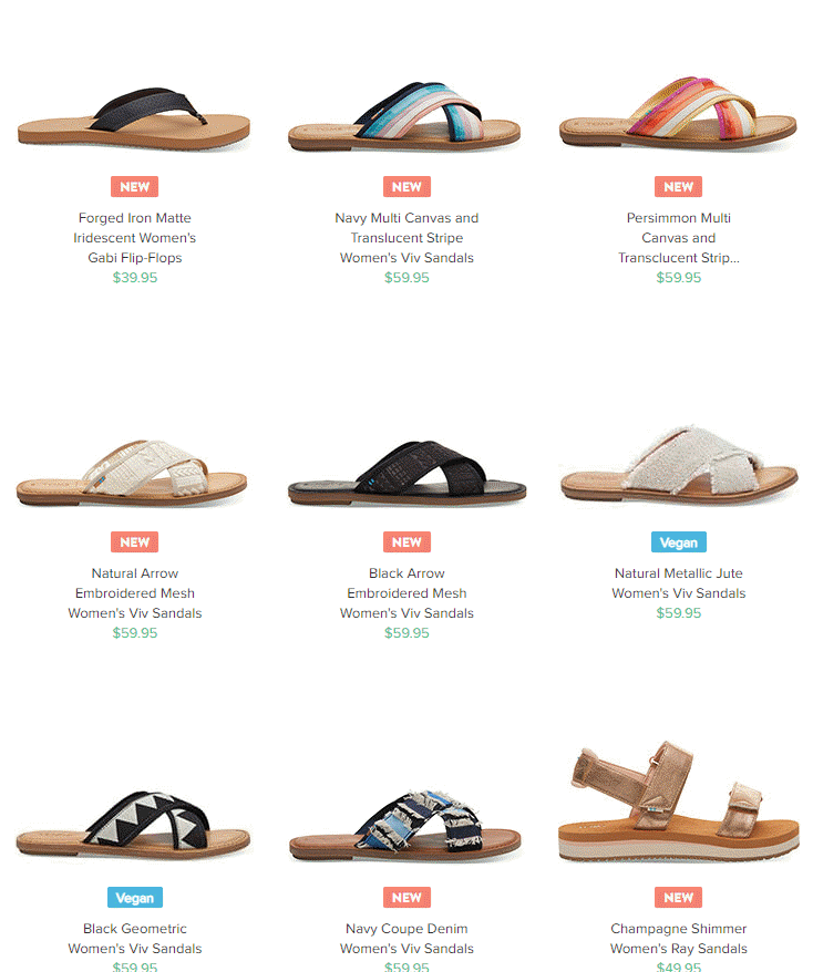 Toms Shoes latest flip flop sandals for Spring 2019. This company gives back a portion of each purchase. #shoes #flipflops #sandals #Tomsshoes #AD