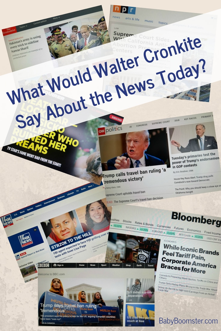 What would Walter Cronkite have to say about the news today now that politics are so divisive. #babyboomers #womenover50 #news