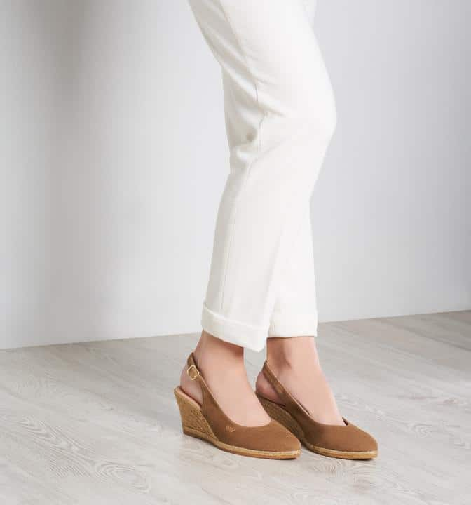 Viscata Barcelona Palomera Suede Slingback Buckle Wedge Esparadrilles in Camel - Made in Spain and super comfy as well as stylish. #Espadrilles #shoes #casualshoes #resortshoes #madeinSpain
