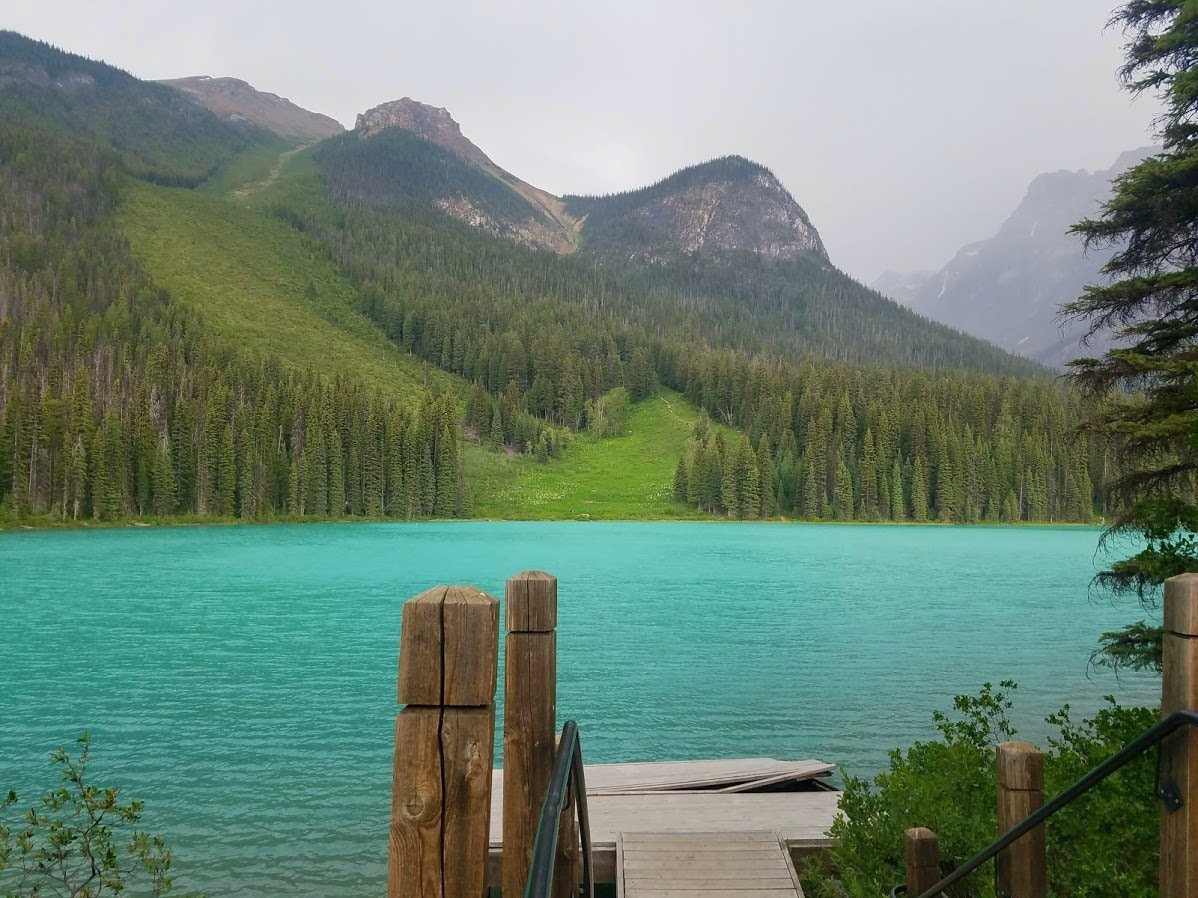 Emerald Lake at a small dock - Yoho National Park, BC, Canada