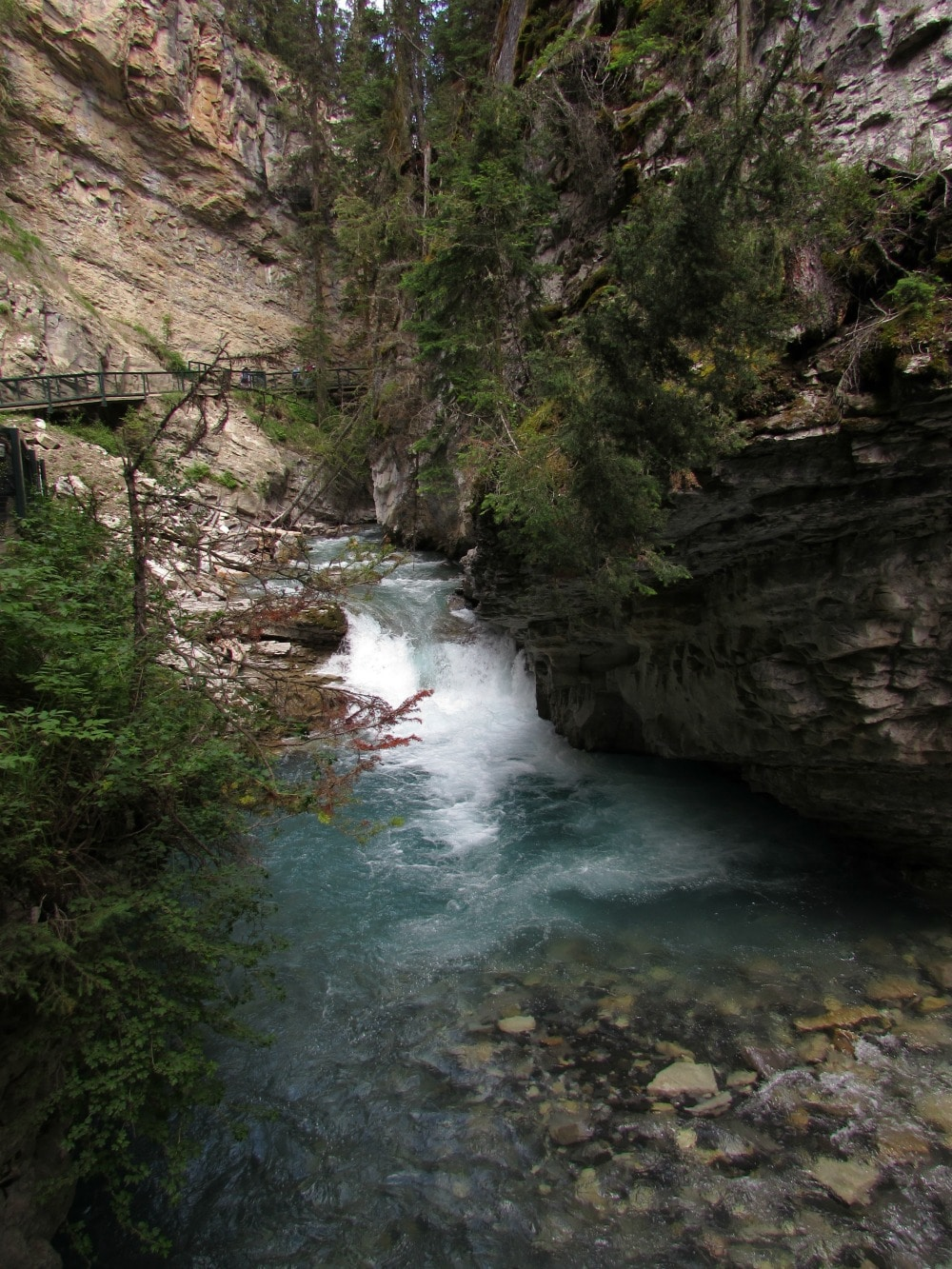 Johnston Canyon #waterfall with catwalks built into the limestone walls #Canada #Banff