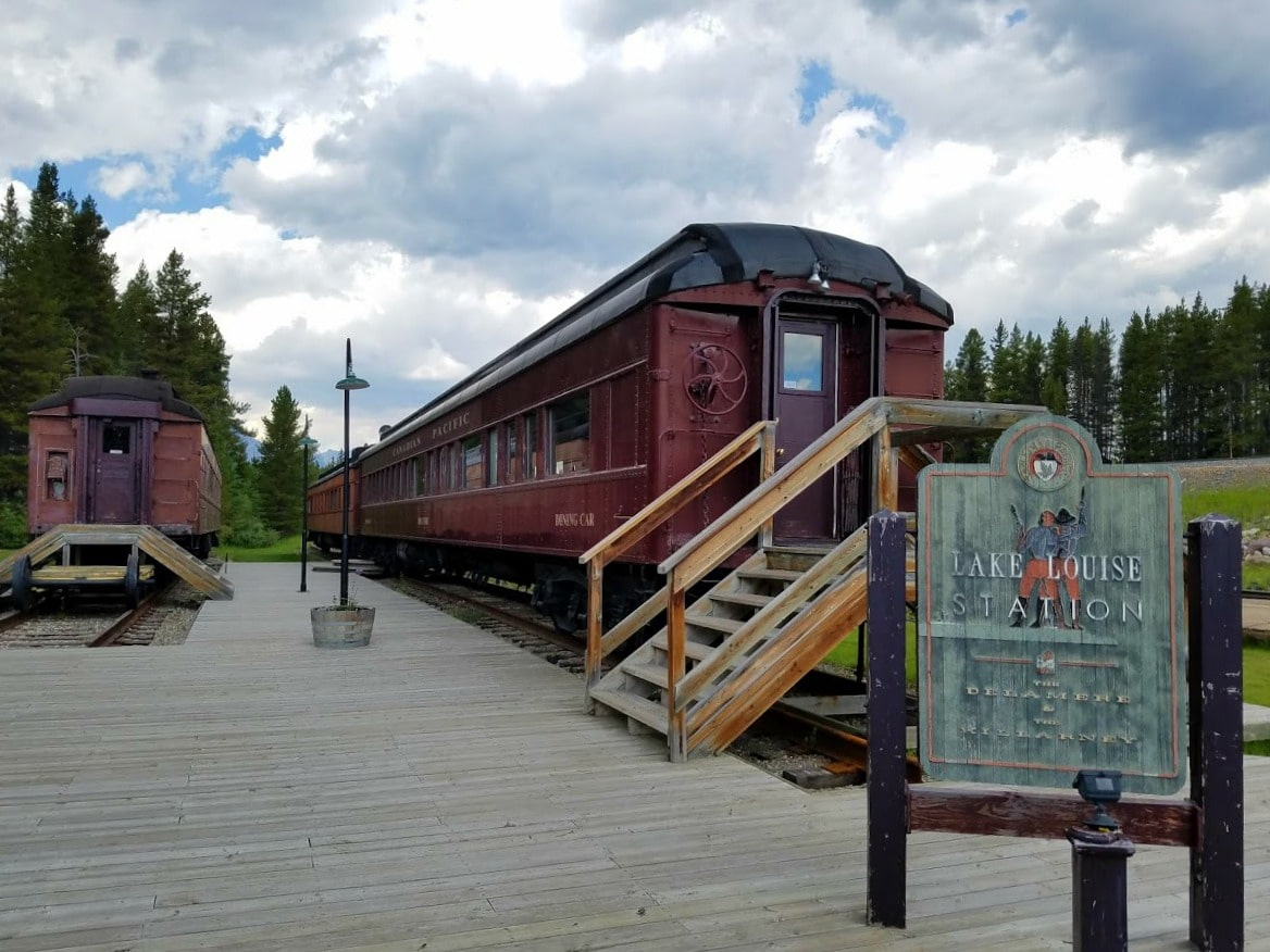 Vintage trains at the Lake Louise Train Station #trains #BanffNationalPark #Canada