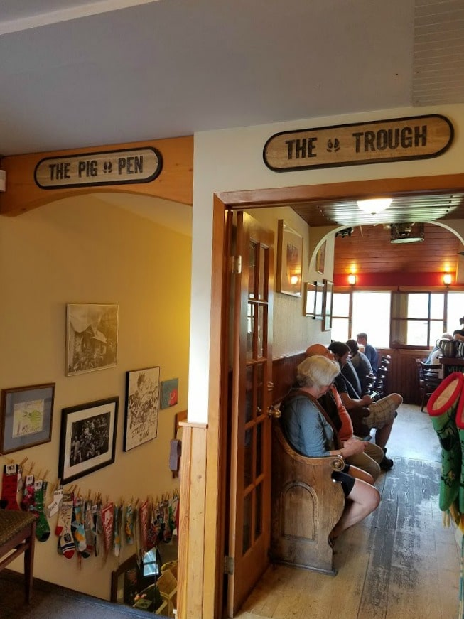 Doorway to the Truffle Pigs Bistro and downstairs coffeeshop - BC Canada Yoho National Park