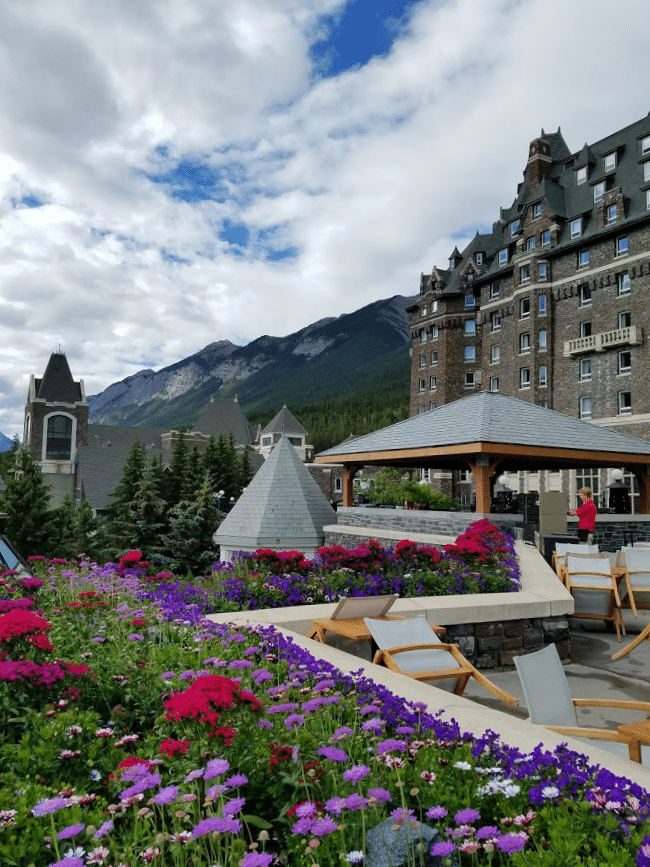 A view from the back of the Fairmont Banff Springs #Hotel #Banff #Canada with #flowers
