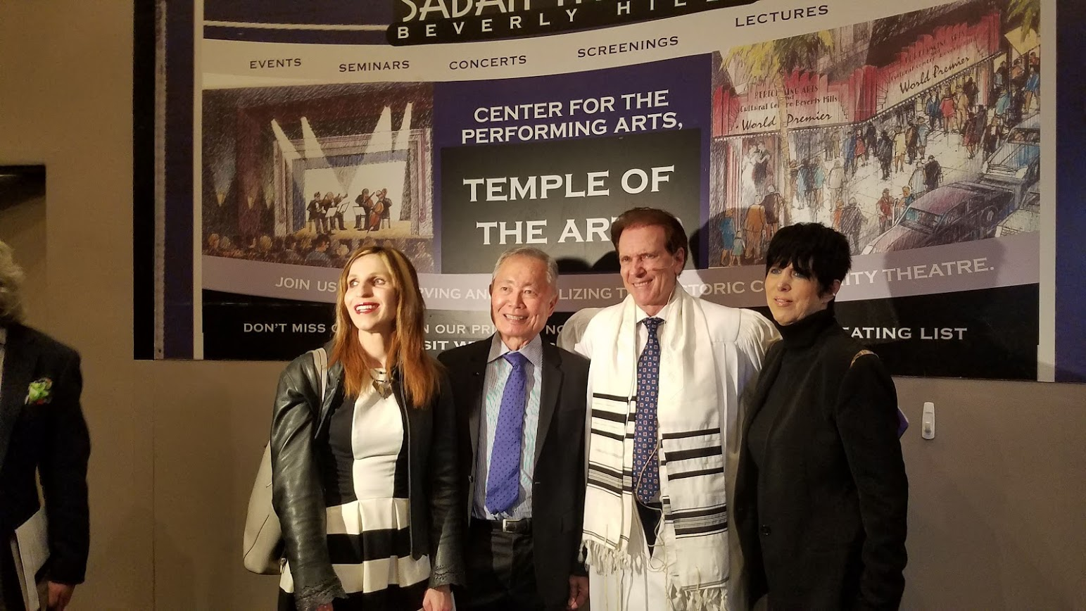 Laurie Ruben, George Takai, Rabbi Baron, and Diane Warren at Temple of the Arts Yom Kippur services
