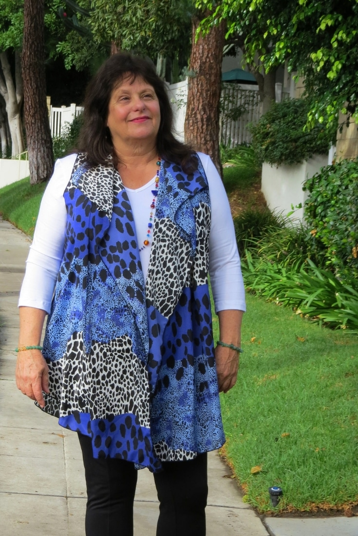 Covered Perfectly blue and black animal print chiffon cascading #vest designed for #womenover50 who want to cover up unflattering bulges that look stylish #midlife #womensclothing #shopping #fashionover50 #styleover50