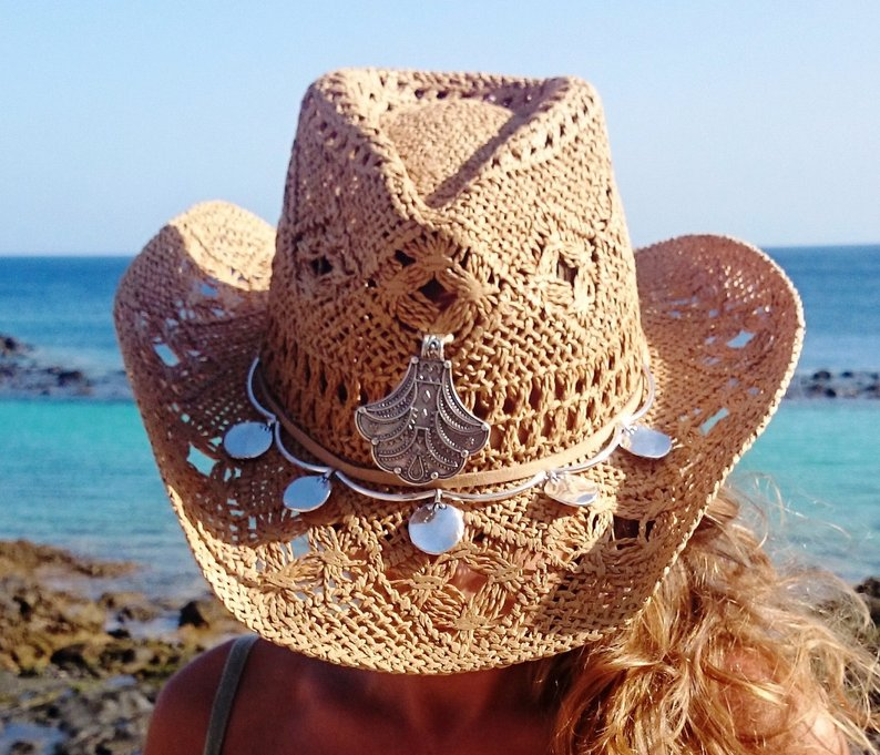 This Bohemian style straw hat found on Etsy is so classy and will make you a hit on the beach or on vacation. Keep the sun off your face. #womenshat #sunhat #etsy #affiliate #giftideas