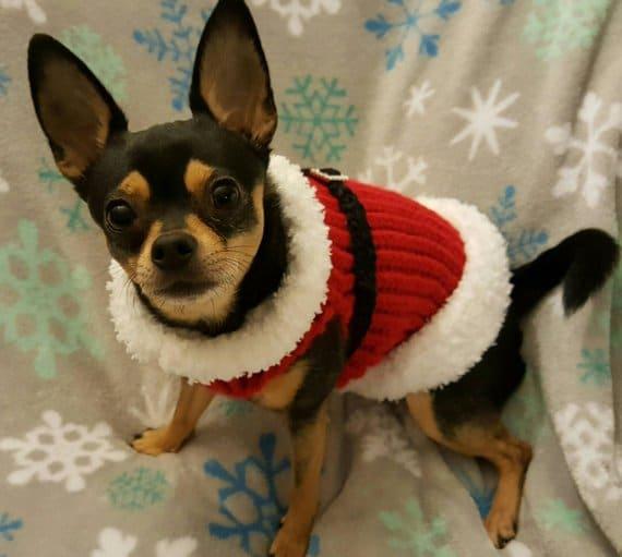 Etsy = Christmas Santa #Dog Sweater #dogsweater #dogclothes #pets #dogjacket