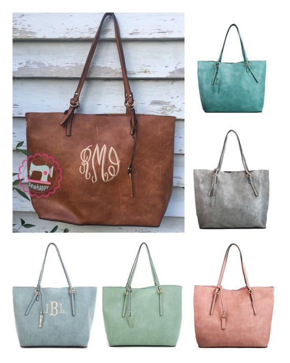 Boho-style monogrammed tote bags