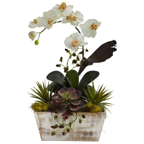 Orchid and Succulent Garden with White Wash Planter at Nearly Natural #artificalplants #flowers #silkflowers #ad