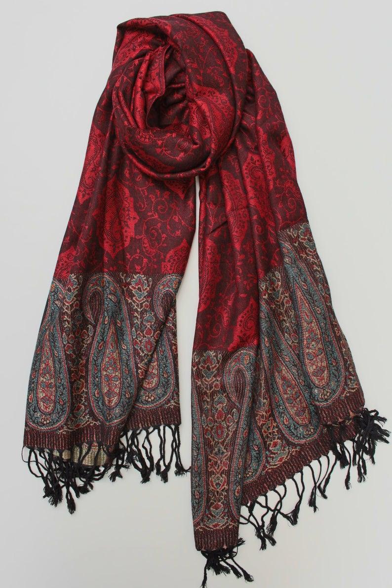 Red Pashmina Scarf - Etsy