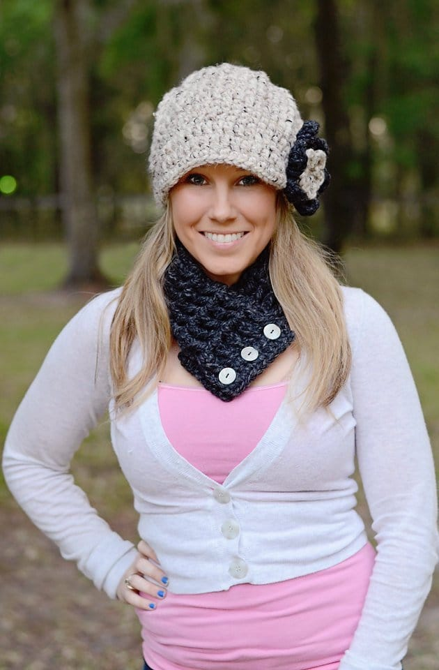 Womens crochet flower beanie and scarf
