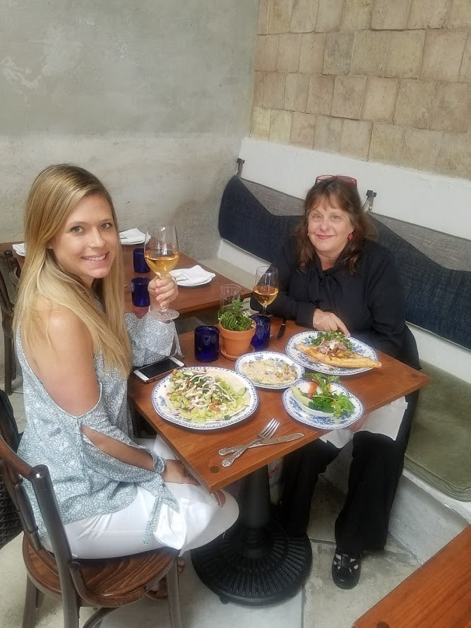 Eating at a Mediterranean Style Restaurant in Los Angeles with my daughter