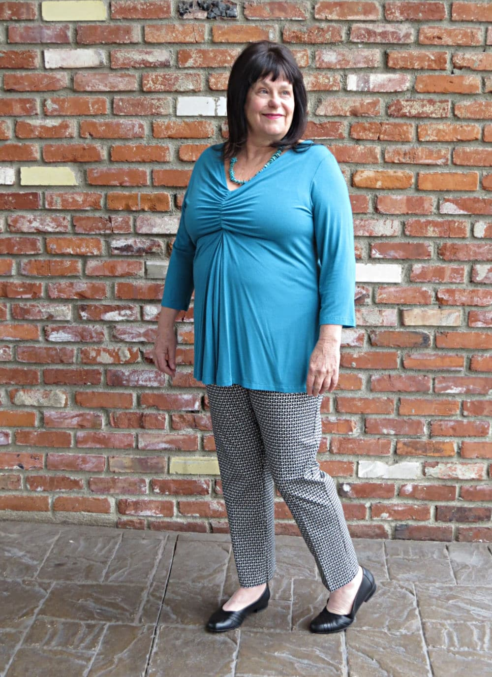 Covered Perfectly Mandy top in teal - perfect to cover up a menopause belly