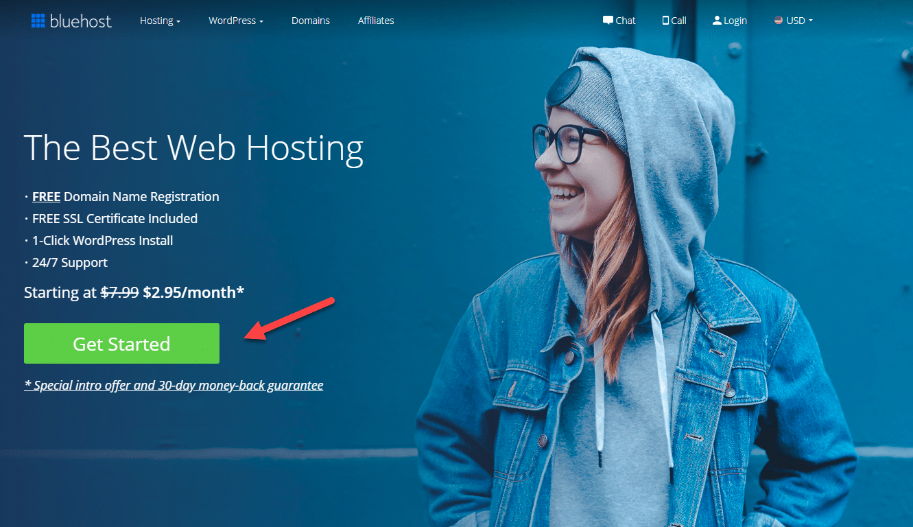 Home page of Bluehost hosting. Install WordPress