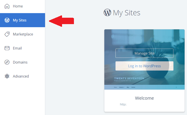 Bluehost setup - My Sites to log into Install WordPress
