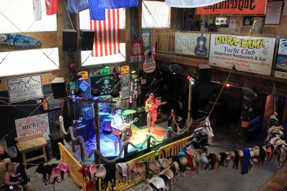 The Flora-Bama bar, home of the Bushwacker cocktail and the Flora-Bama annual mullet toss #Flora-Bama #bar #Alabama #fishtoss #Bushwacker
