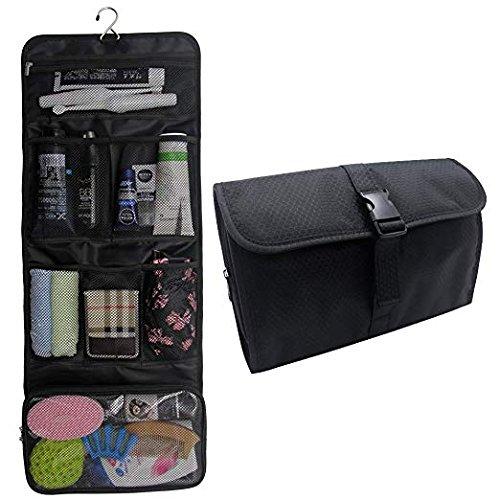 This Hanging Toiletry Bag Travel Kit for Men and Women is perfect to take on trips because you can easily hang it and then roll it back up to save space. It has compartments for all your toiletry items. #travelgear #toiletrybag #hangingbag #toiletries #affiliate #Amazon