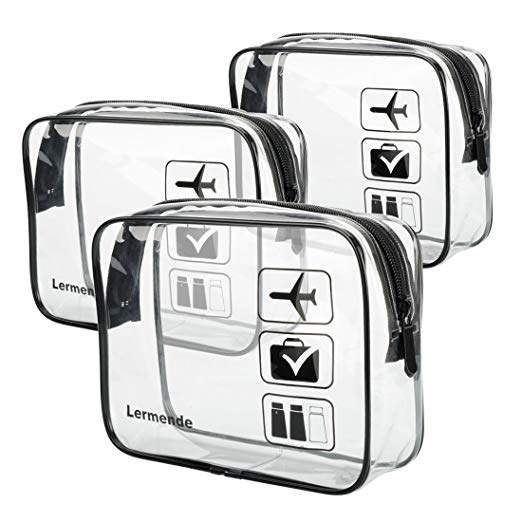3 pcs Lermende TSA Approved Toiletry Bag to hold your liquids when you pass through the gate #affiliate #Amazon #travelgear #clearbags #TSAApproved