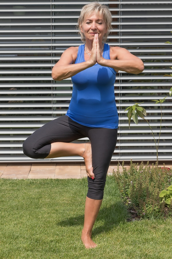 Tree pose - This is a good balance pose and will help you to work on your abs as well as give your feet and legs a bit of a workout -
