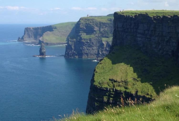 The Cliffs of Moher are located at the southwestern edge of the Burren region in County Clare, Ireland
